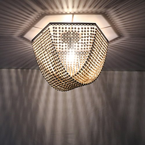 Unitary Brand Antique Black Metal and Wood Beads Decoration Hexagon Flush Mount Ceiling Light with 1 E26 Bulb Socket 60W Painted Finish by Unitary (Image #3)