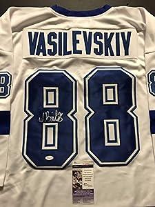 Autographed/Signed Andrei Vasilevskiy Tampa Bay Lightning White Hockey Jersey JSA COA