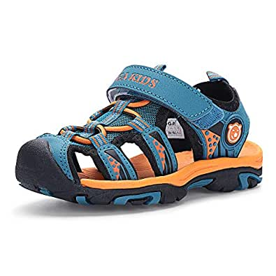 Hehainom Boy's Girl's Jess Athletic Beach Sandals Closed Toe Summer Outdoor Water Shoes (Toddler/Little Kid/Big Kid) Blue Size: 1 Little Kid