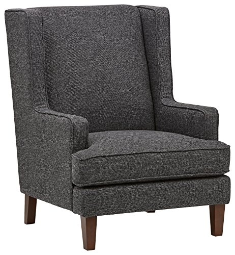 """Stone & Beam Highland Modern Wingback Accent Chair, 32""""W, Caviar - Bridging classic and contemporary, this accent chair is a modern twist on the timeless wingback chair. The clean, updated style with thick-woven fabric brings welcoming comfort to your seating area. 31.9""""W x 37.8""""D x 42""""H Sustainably sourced solid beech wood covered in thick-woven fabric - living-room-furniture, living-room, accent-chairs - 51IG5M3vkGL -"""