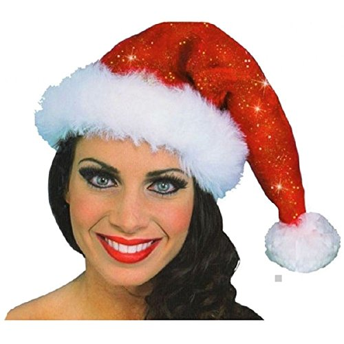 Adult Pocahontas Indian Wig (Sparkle Santa Hat Mrs Ms Miss Claus Christmas Fancy Dress Costume Accessory)
