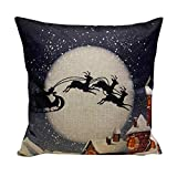 Cushion Pillow Cover,Hemlock Linen Square Cartoon Pillow Cover Christmas Cushion Cover (E)
