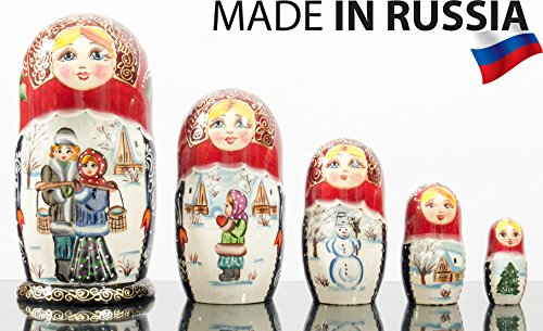Russian Nesting Doll -Village Scenes - Hand Painted in Russia - 5 color/size variations - Traditional Matryoshka Babushka (6.75``(5 dolls in 1), Scene E) - Hand Painted Russian Nesting