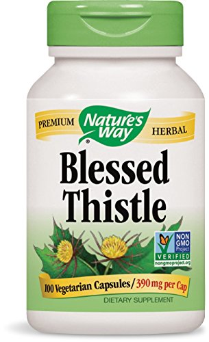 Natures Way Blessed Thistle, 390 milligrams Per Cap, 100 Vegetarian Capsules. Pack of 3 (Blessed Thistle Capsules)