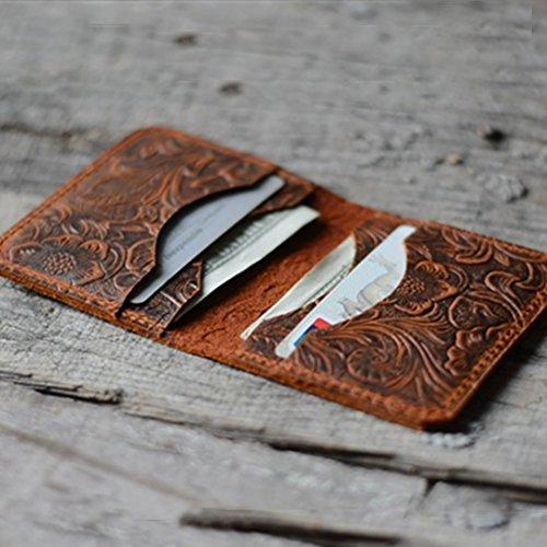 Personalized Minimalist Bifold Wallet, Men's Minimalist Card Holder Distressed Leather Wallet - | Brown by JJNUSA