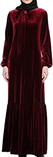 Hzjundasi islamique Musulman Femmes arabe Manches longues Robe Velours Loose Dress Kaftan Saudi Turquie Pleine longueur Thobe Cocktail Apparel Abaya Filles Usure pour Ramadan,086#