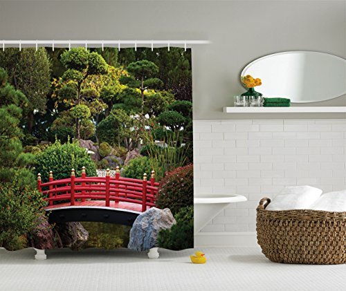 Ambesonne Apartment Decor Collection, Tiny Bridge over Pond Japanese Garden Monte Carlo Monaco Along with Trees and Plants, Polyester Fabric Bathroom Shower Curtain, Red ()
