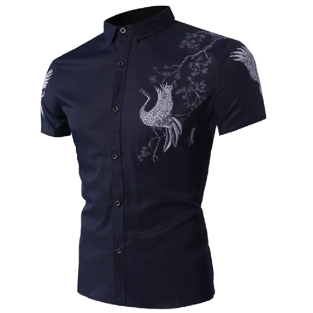 Vska Mens Silm Fit Summer Short-Sleeve Bussiness Gentleman Shirts