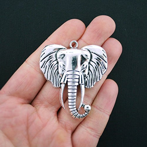 Charm Glass Elephant (Large Elephant Head Charms Antique Silver Tone - SC3534 Jewelry Making Supply Pendant Bracelet DIY Crafting by Wholesale Charms)