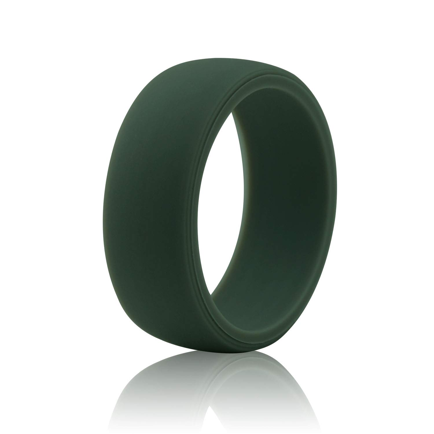 Tuhaoge Silicone Wedding Ring for Men, Singles Silicone Rubber Wedding Bands -Blue,Black,Red Wine and Camo Colors (Green, 10)