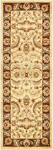 2 feet by 6 feet (2' x 6') Runner Agra Cream Area Rug