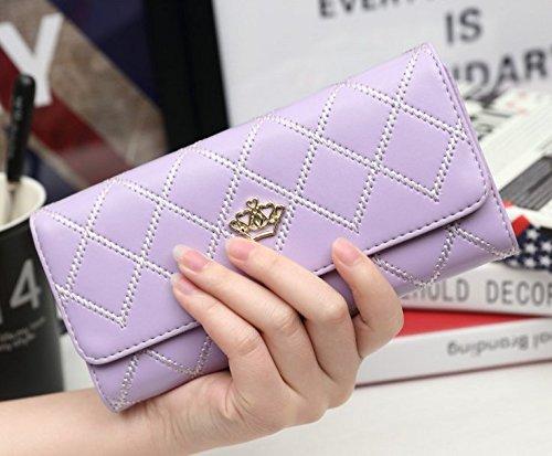 josep. H tragbar Frauen Mode Hand Tasche Krone Lange Geldbörse rosa rose violett