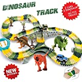 HOMOFY Dinosaur Toys 192 Pcs Race Car Flexible Track Sets Jurassic World 3 Dinosaurs,2