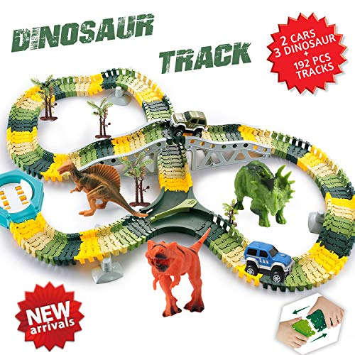 HOMOFY Dinosaur Toys 192 Pcs Race Car Track Sets Jurassic World Flexible Tracks, 3 Dinosaurs,2 Led Cars,1 Tree and 2 in 1 Tunnel for 2 3 4 Year Old Girls and Boys