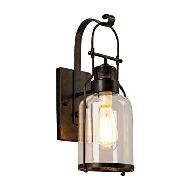 BAYCHEER HL422437 Industrial Country Style 18'' H Single Light Wall sconces Wall Lighting with Cylinder Glass Shade use 1 E26 Bulb in Rust
