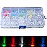 Utini 300Pcs 5mm LED Diodes Yellow Red Blue Green White Assortment Light DIY Kit