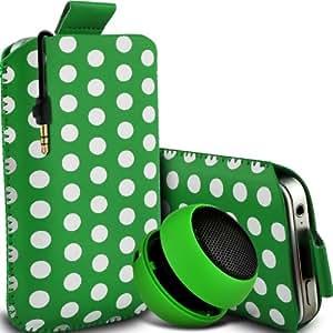 Nokia Lumia 810 Protección Premium Polka PU ficha de extracción Slip In Pouch Pocket Cordón piel cubierta de la caja de liberación rápida y Mini recargable portátil de 3,5 mm Cápsula Viajes Bass Speaker Jack Green & White por Spyrox