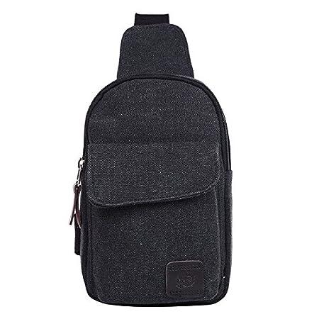 dec22d7c42 Amazon.com  Rachel Charm Leisure Men s Crossbody Bags Canvas One Shoulder  Backpack Oblique Chest Pack Fashion Shoulder Bag (Black)  Sports   Outdoors