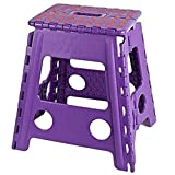 KARMAS PRODUCTS Super Strong Folding Step Stool 15 Inch Portable Carrying Handle for Adults and Kids.Great for Kitchen Garden purple
