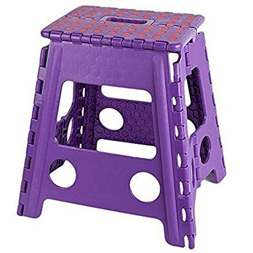 KARMAS PRODUCTS Super Strong Folding Step Stool 15 Inch Portable Carrying Handle for Adults and Kids.Great for Kitchen Garden purple (15 Inch Stool)