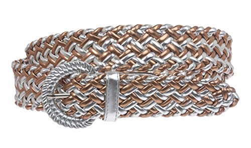 (1 1/4 Inch Wide Metallic Braided Woven Belt Size: S - 31 Color: Silver/Copper )
