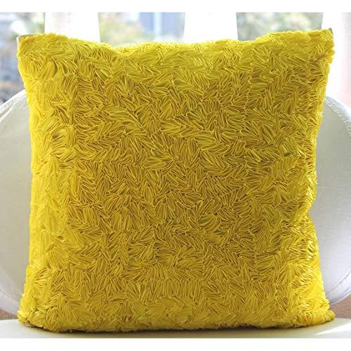 The HomeCentric Handmade Yellow Throw Pillows Cover, Textured Ribbon Pillowcases, 16