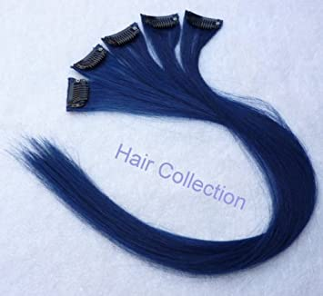 Amazon hair collection 18 blue 100 human hair clip in on hair collection 18quot blue 100 human hair clip in on extensions 16quot pmusecretfo Images
