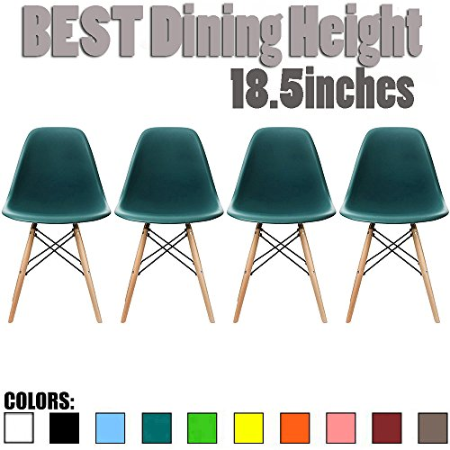 2xhome - Set of Four (4) Teal - Eames Side Chair Eames Chair Teal Seat Natural Wood Wooden Legs Eiffel Dining Room Chairs No Arm Arms Armless Molded Plastic Seat Dowel Leg