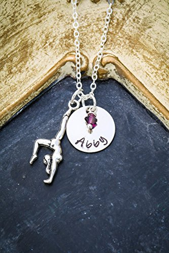 Personalized Gymnastics Necklace – DII AAA - Coach Gift – Thank You – Handstamped Handmade Jewelry – 5/8 Inch 15MM Disc – Choose Birthstone Color – Custom Name – Fast 1 Day Shipping
