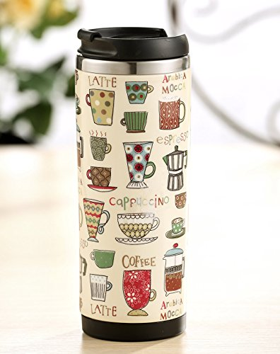 Evergreen Coffee Lover Stainless Steel Travel Mug, 12 ounces (Travel Recycled Mug)