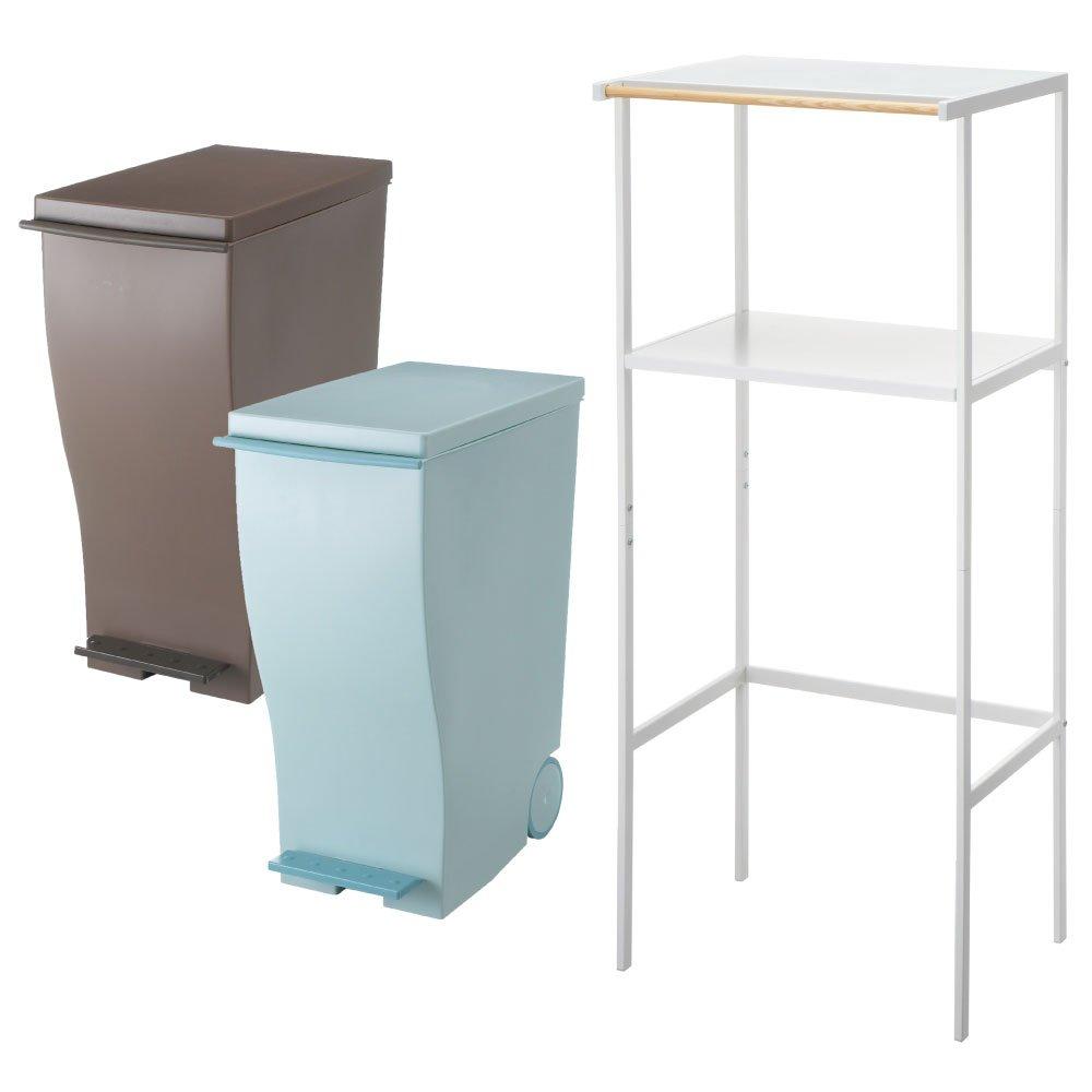 【3点セット】ゴミ箱上ラック tower ホワイト + kcud スリムペダル 30 2点セット ゴミ箱 ごみ箱 ダストボックス レンジ台 ゴミ箱ラック (オールブラウン×オールブルーグリーン) B0728D3W61 オールブラウン×オールブルーグリーン オールブラウン×オールブルーグリーン