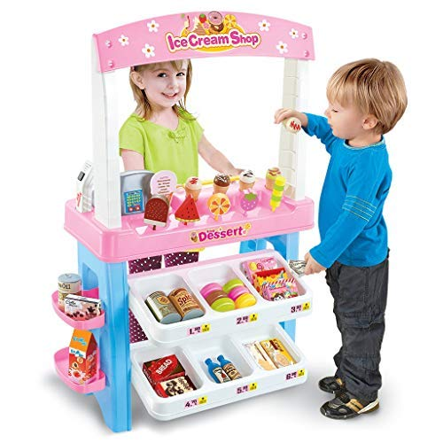 TKI-S Ice Cream Shop 47 Piece Luxury Grocery Store Playset with Scanner Candy Shopping Grocery Store Playset Large Supermarket Shopping Cashier with Fruit Food Light Effects Storage Cabinet