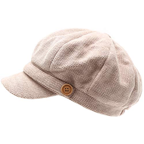 MIRMARU Women's Classic Visor Baker boy Cap Newsboy Cabbie Winter Cozy Hat with Comfort Elastic Back (Chenille Beige)