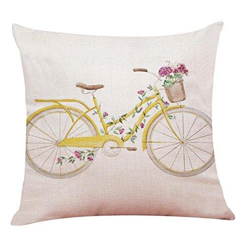 Aremazing Inspirational Quote Succulents Plants Cactus Cotton Linen Home Decor Pillowcase Throw Pillow Cushion Cover 18 x 18 Inches (Yellow Bicycle) from Aremazing