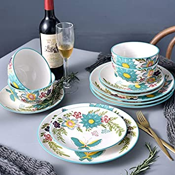 DL Stylish 12-Piece Dinnerware set, Service for 4, Butterfly Blue