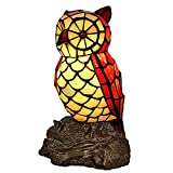 Bieye L10612 6-inches Owl Tiffany Style Stained Glass Accent Table Lamp