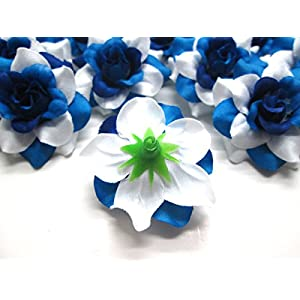 """(24) Silk Two-tone Blue Roses Flower Head - 1.75"""" - Artificial Flowers Heads Fabric Floral Supplies Wholesale Lot for Wedding Flowers Accessories Make Bridal Hair Clips Headbands Dress 5"""