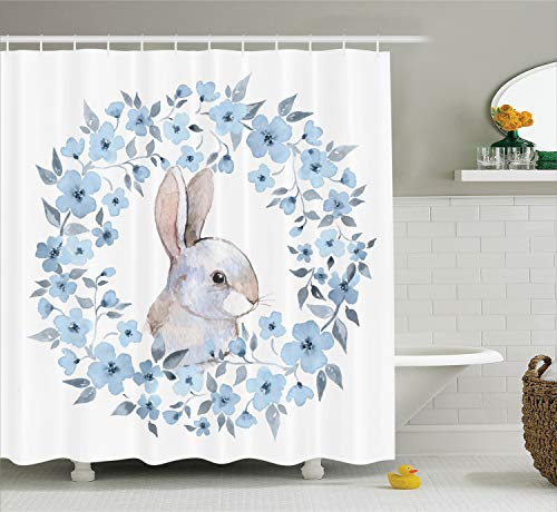 Illustration Portrait - Ambesonne Watercolor Flower Decor Shower Curtain Set, Bunny Rabbit Portrait in Floral Wreath Illustration Country Style Decor, Bathroom Accessories, 75 Inches Long, Blue White