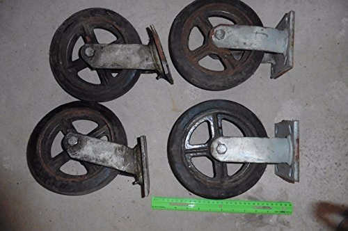 4 Caster Wheels X-Large Vintage Railroad Dolly cart ? Scaffold PJ Company 8x2