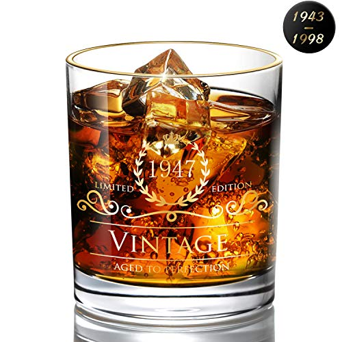 1947 72th Birthday/Anniversary Gift for Men/Dad/Son, Vintage Unfading 24K Gold Hand Crafted Old Fashioned Whiskey Glasses, Perfect for Gift and Home Use - 10 oz Bourbon Scotch, Party Decorations