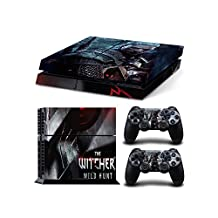 Sony PlayStation 4 Skin Decal Sticker Set - The Witcher 3: Wild Hunt (1 Console Sticker + 2 Controller Stickers, Style 3)