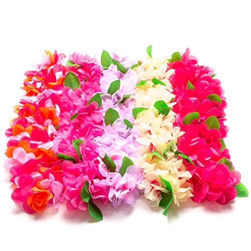 Warner Group 5 Count of The Hawaiian Leis for Luau Party, Moana Party, Tropical Hawaiian Party Decorations and Party Supplies Beach Birthday Lei Tiki -