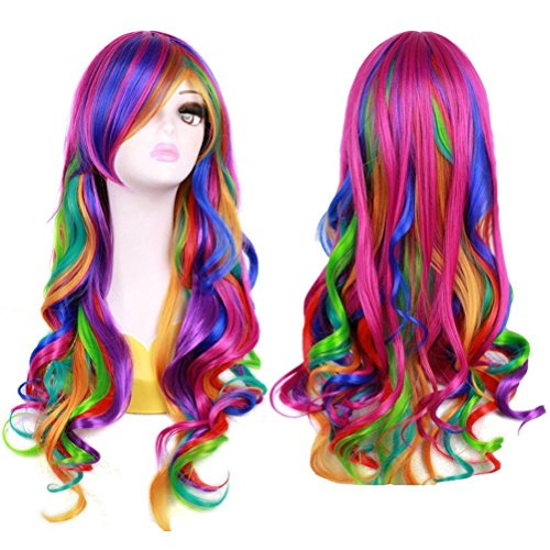 Mersi Long Rainbow Wig Curly Wavy Cosplay Wigs for Women Colorful Costume Wigs 27 Inch with Wig Cap (Rainbow) S012]()