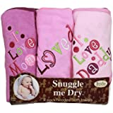 I Love Mommy and Daddy Hooded Bath Towel Set, 3 Pack...