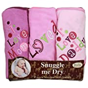 I Love Mommy and Daddy Hooded Bath Towel Set, 3 Pack, Girl, Frenchie Mini Couture