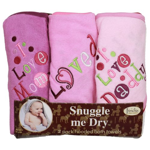 I Love Mommy and Daddy Hooded Bath Towel Set, 3 Pack, Girl, Frenchie Mini ()