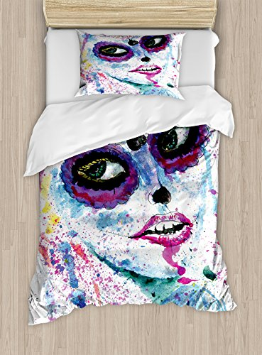 Ambesonne Girls Duvet Cover Set Twin Size, Grunge Halloween Lady with Sugar Skull Make Up Creepy Dead Face Gothic Woman Artsy, Decorative 2 Piece Bedding Set with 1 Pillow Sham, (Halloween Two Face Makeup)
