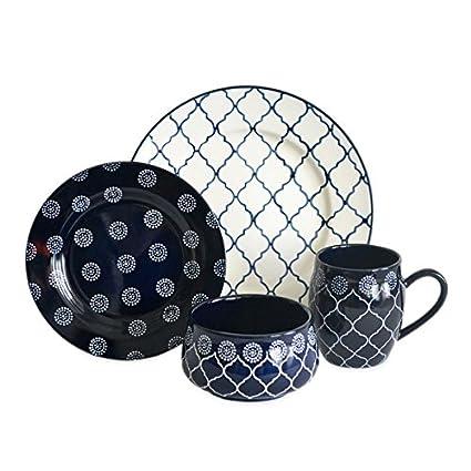 Baum Moroccan 16-Piece Dinnerware Set in Navy  sc 1 st  Amazon.com & Amazon.com | Baum Moroccan 16-Piece Dinnerware Set in Navy ...
