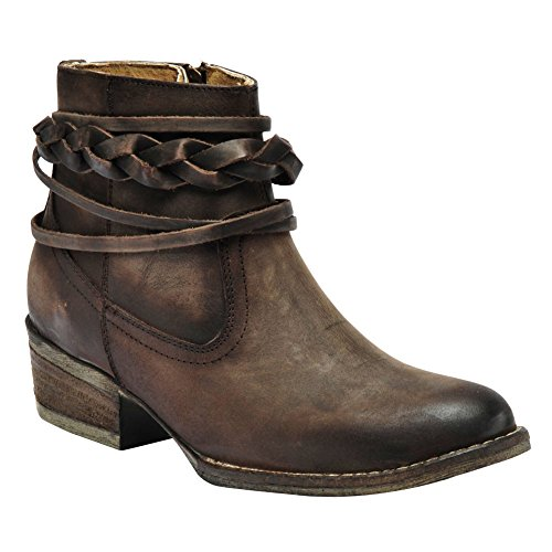 Corral Womens 4-Inch Burnished Brown Top Strappy Round Toe Distressed Leather Booties - 9.5 B