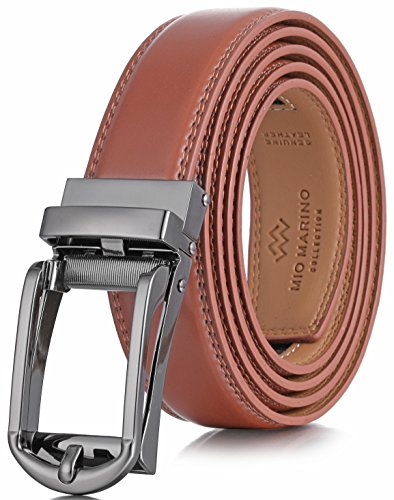 Lock Belt 69 - Marino Men's Genuine Leather Ratchet Dress Belt with Open Linxx Buckle, Enclosed in an Elegant Gift Box - Light Tan - Style 69 - Custom XL: Up to 54